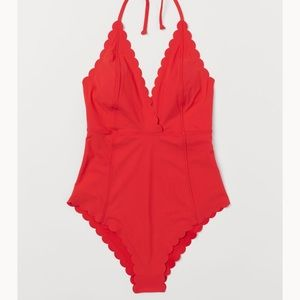 Scalloped-Edge One Piece Swimsuit